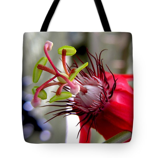 Passion Flower In Red Tote Bag