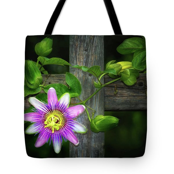 Passion Flower On The Fence Tote Bag