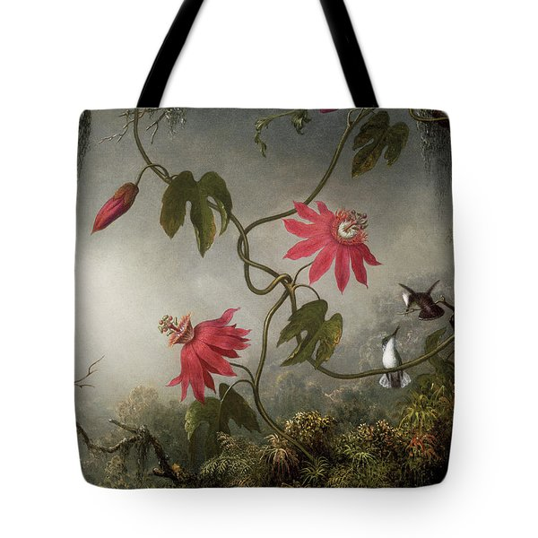 Passion Flowers And Hummingbird Tote Bag