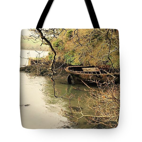 Past Lives Uncovered At Low Water On Tote Bag