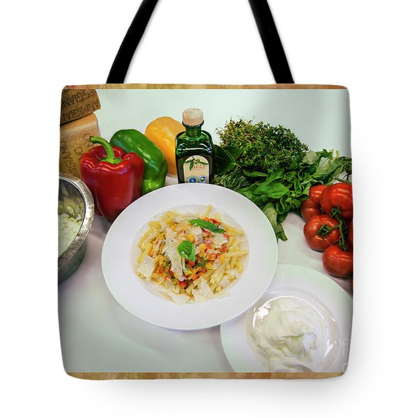 Tote Bag featuring the photograph Pasta Ingredients  by Ariadna De Raadt
