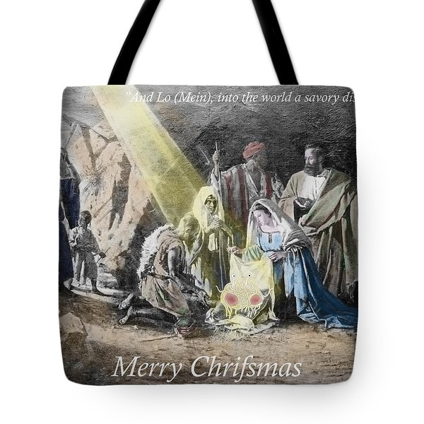 Pastafarian Merry Chrifsmas Scene Tote Bag