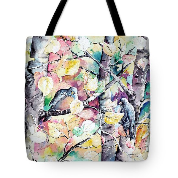 Pastel Aspen With Robins Tote Bag