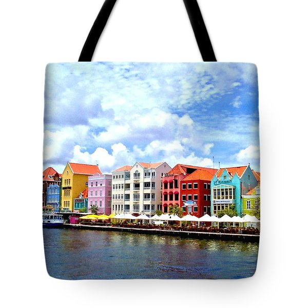 Pastel Building Coastline Of Caribbean Tote Bag
