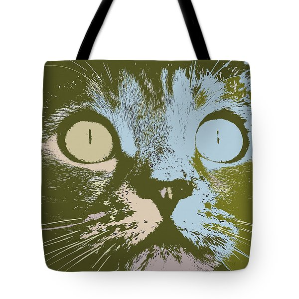 Tote Bag featuring the digital art Pastel Cat Pop Art by Shelli Fitzpatrick