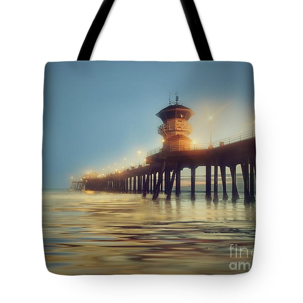 Pastel Evening At Huntington Beach Pier Tote Bag