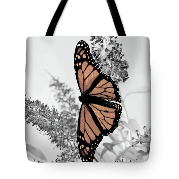 Pastel Monarch On Black And White Tote Bag