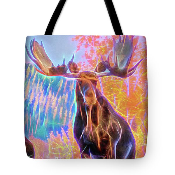 Pastel Moose Couple Tote Bag