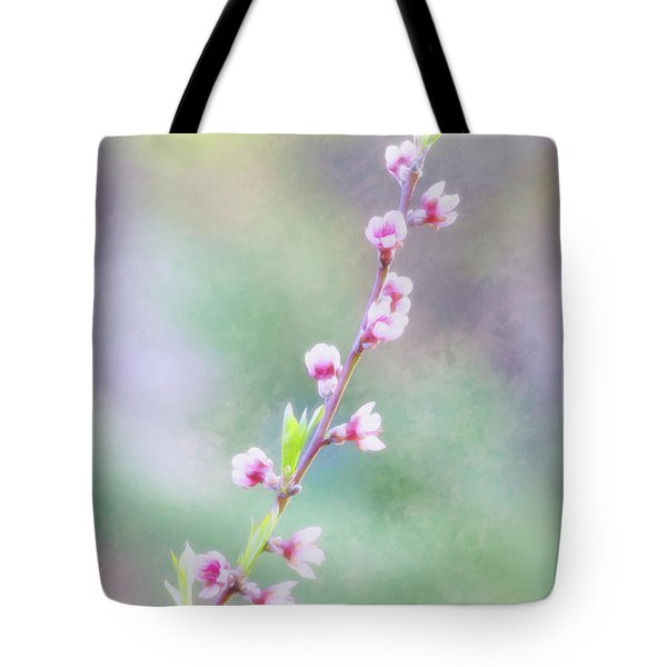 Pastel Painted Peach Blossoms Tote Bag