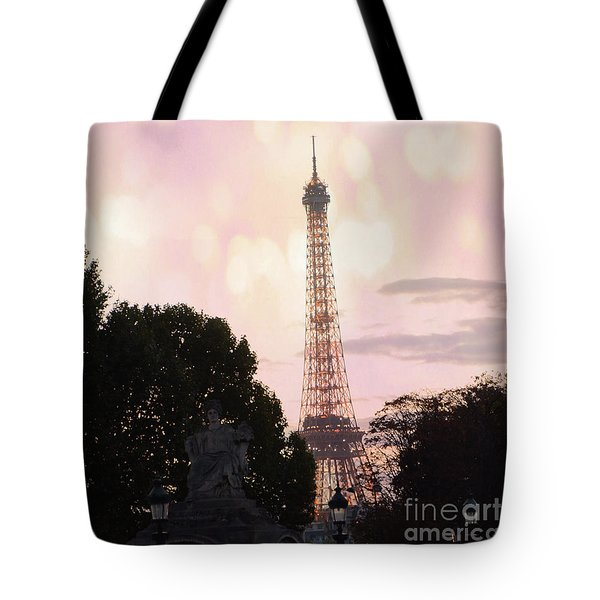 Tote Bag featuring the photograph Pastel Paris Eiffel Tower Sunset Bokeh Lights - Romantic Eiffel Tower Pink Pastel Home Decor by Kathy Fornal