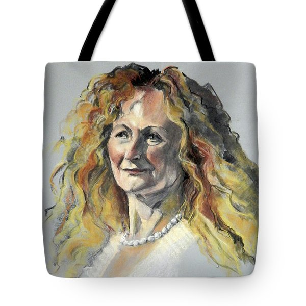Pastel Portrait Of Woman With Frizzy Hair Tote Bag