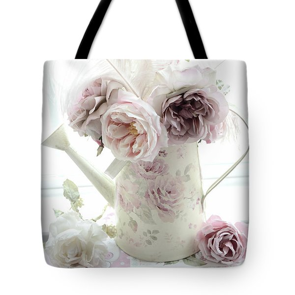 Tote Bag featuring the photograph Pastel Romantic Shabby Chic Pink Flowers In Watering Can - Romantic Cottage Floral Home Decor  by Kathy Fornal