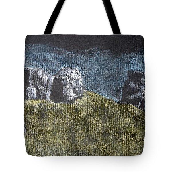 Pastel Stones On Black Tote Bag