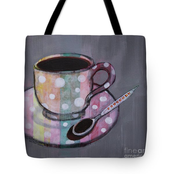 Tote Bag featuring the painting Pastel Stripes Polka Dotted Coffee Cup by Robin Maria Pedrero