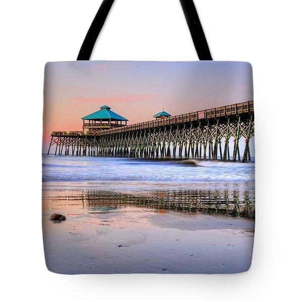 Pastel Sunrise On Folly Beach Pier In Charleston South Carolina Tote Bag