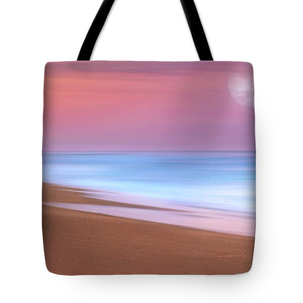 Tote Bag featuring the photograph Pastel Sunset And Moonrise Over Hutchinson Island Beach, Florida. by Justin Kelefas