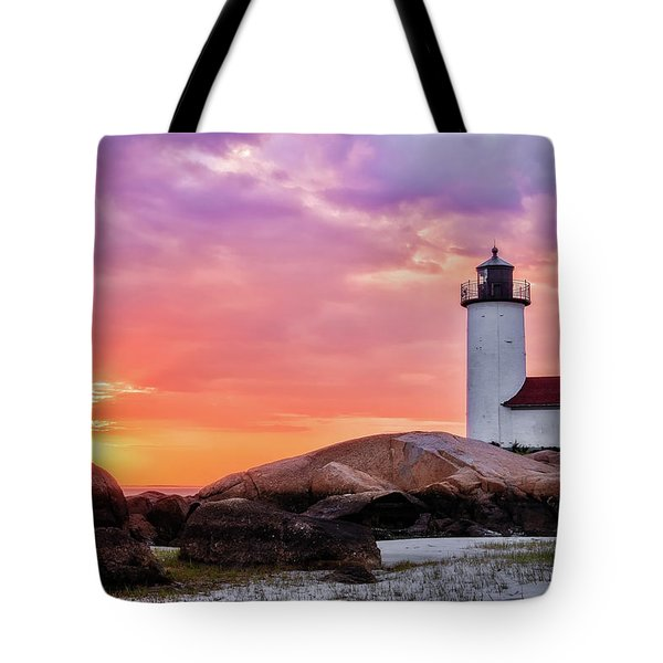 Tote Bag featuring the photograph Pastel Sunset, Annisquam Lighthouse by Michael Hubley