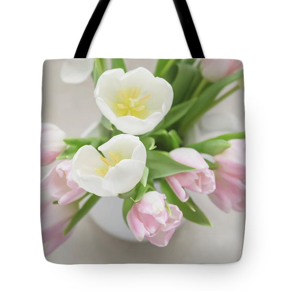 Tote Bag featuring the photograph Pastel Tulips by Kim Hojnacki