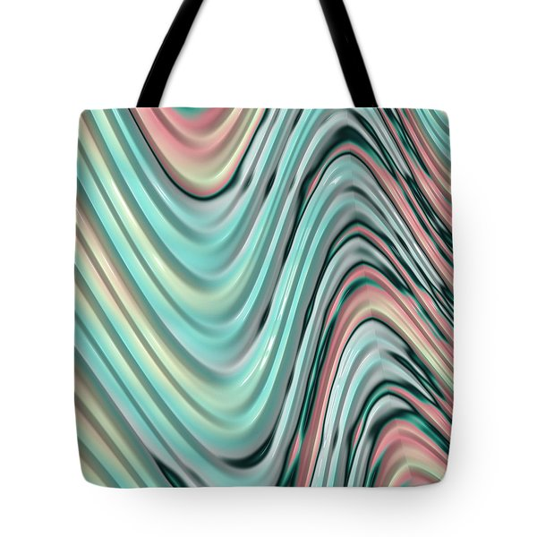 Tote Bag featuring the digital art Pastel Zigzag by Bonnie Bruno