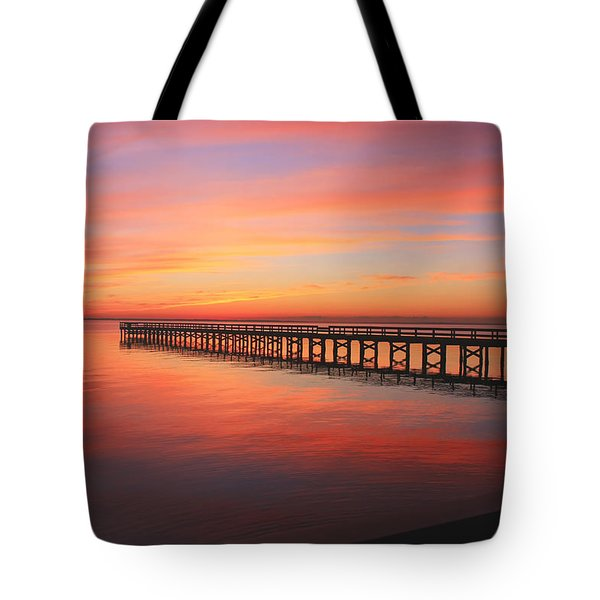 Pastels At The Hilton Fishing Pier  Tote Bag