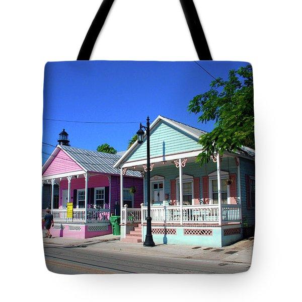 Pastels Of Key West Tote Bag by Susanne Van Hulst