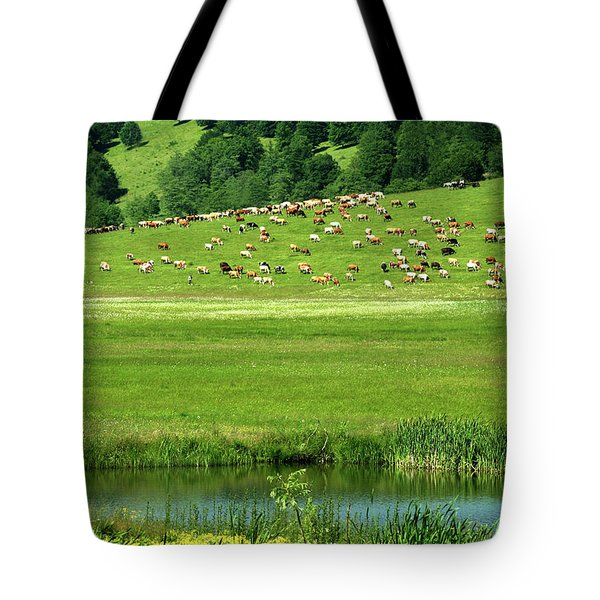 Pasture And Lake Tote Bag