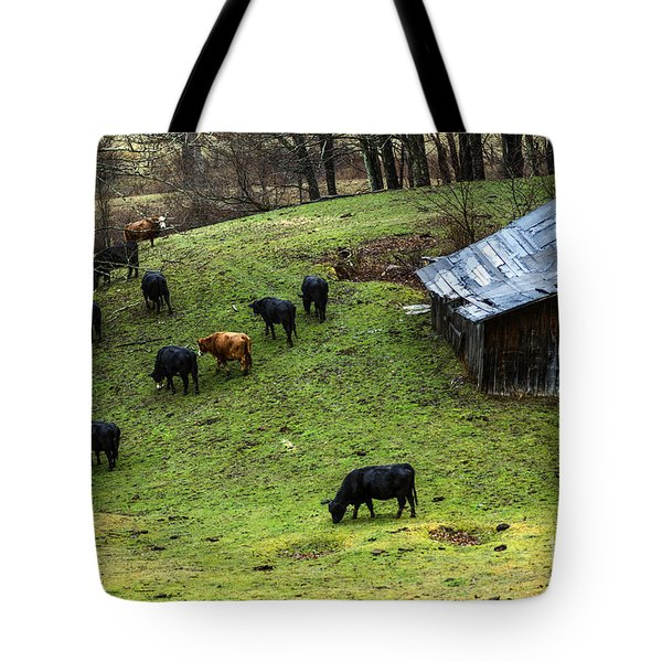 Pasture Field And Cattle Tote Bag