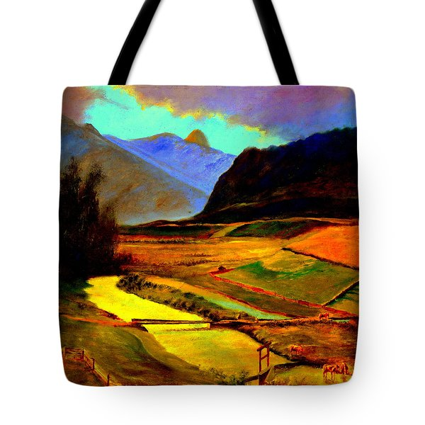 Pasture In The Mountains Tote Bag