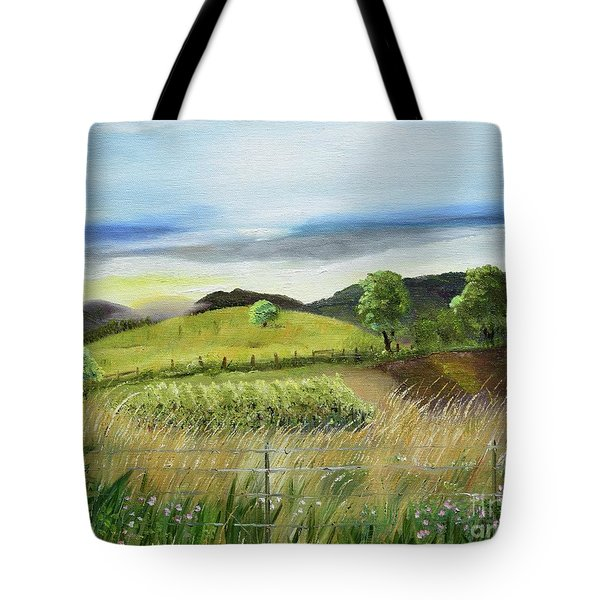 Tote Bag featuring the painting Pasture Love At Chateau Meichtry - Ellijay Ga by Jan Dappen