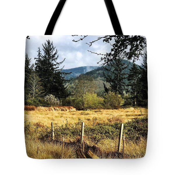 Tote Bag featuring the photograph Pasture, Trees, Mountains Sky by Chriss Pagani