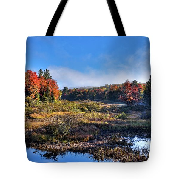 Tote Bag featuring the photograph Patches Of Fog At The Green Bridge by David Patterson