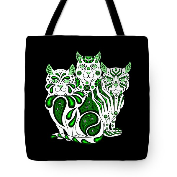 Patches, Stripes, And Bobbles In Green Tote Bag