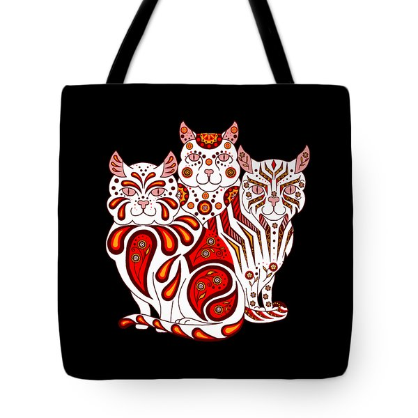 Patches, Stripes, And Bobbles In Red Tote Bag