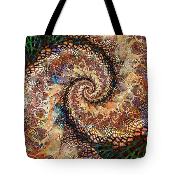 Tote Bag featuring the digital art Patchwork Spiral by Richard Ortolano