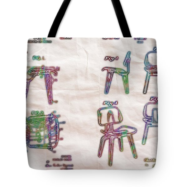 Patent Eames Chair Drawing Neon Print Poster Tote Bag