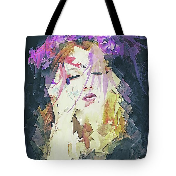 Tote Bag featuring the digital art Path Abstract Portrait by Galen Valle