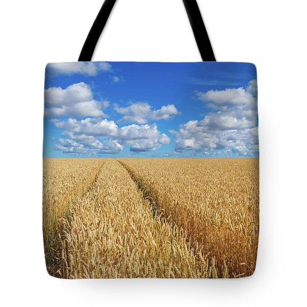 Path In A Golden Wheat Field Tote Bag