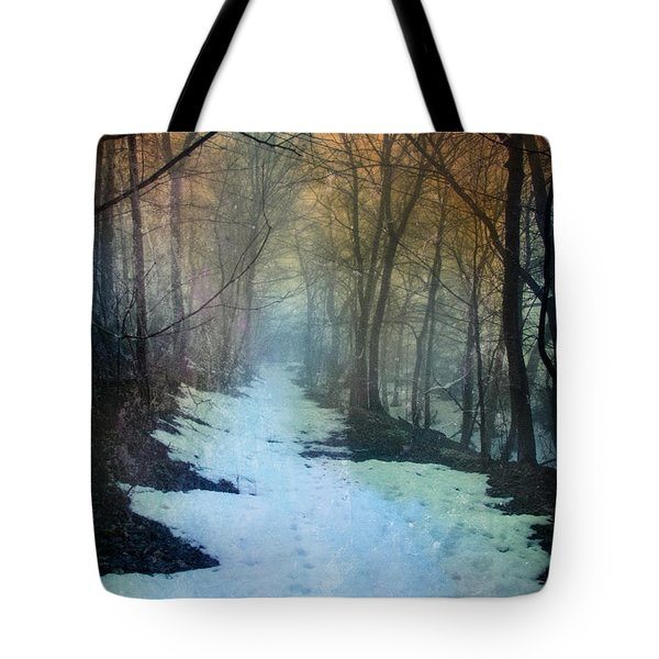 Path Through The Woods In Winter At Sunset Tote Bag by Jill Battaglia