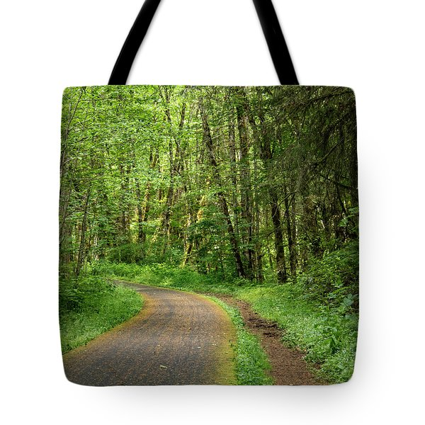 Tote Bag featuring the photograph Path Through The Woods by Jean Noren