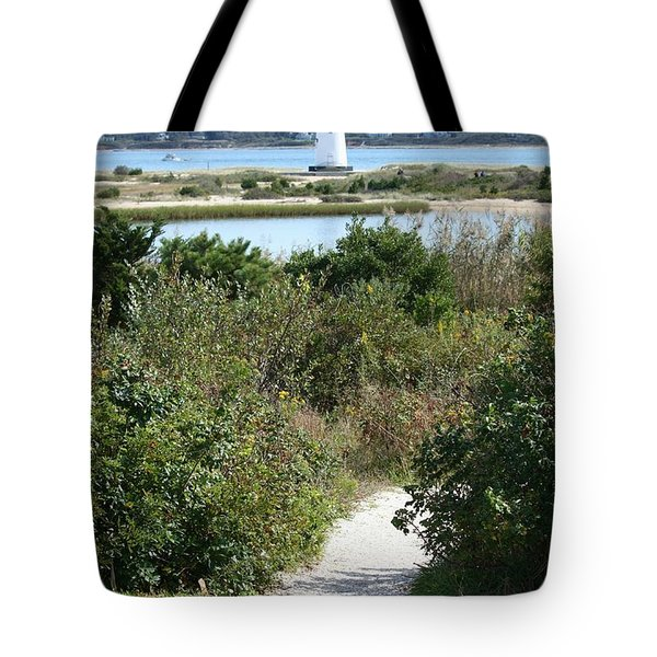 Path To Edgartown Lighthouse Tote Bag by Carol Groenen