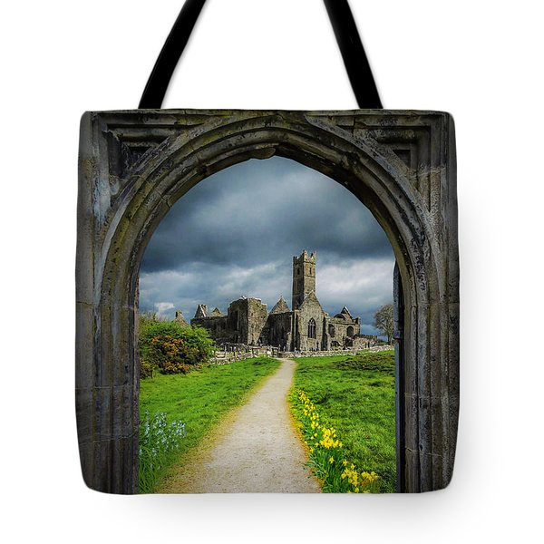 Tote Bag featuring the photograph Path To Ireland's Quin Abbey, County Clare by James Truett