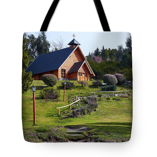 Rustic Church Surrounded By Trees In The Argentine Patagonia Tote Bag
