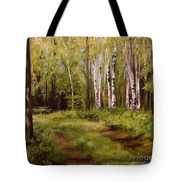 Path To The Birches Tote Bag by Laurie Rohner