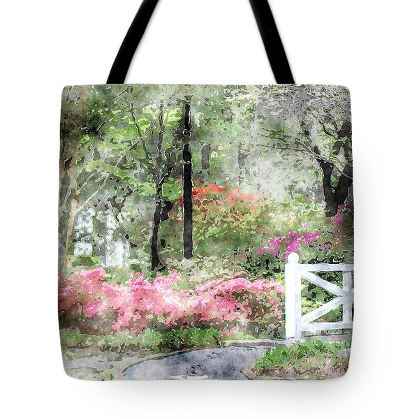 Tote Bag featuring the photograph Path To The Bridge by Donna Bentley