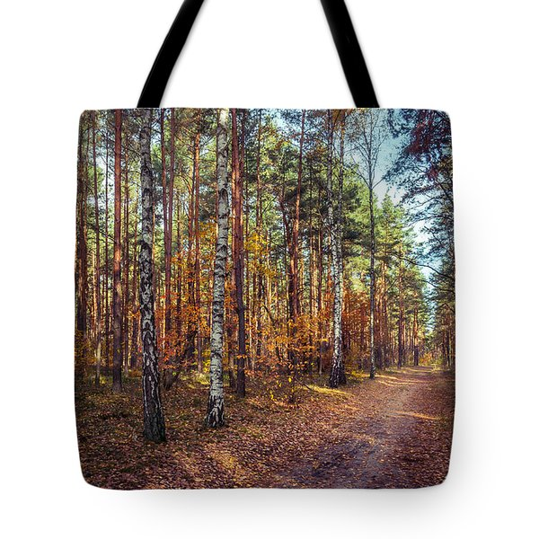 Pathway In The Autumn Forest Tote Bag
