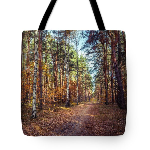 Tote Bag featuring the photograph Pathway In The Autumn Forest by Dmytro Korol