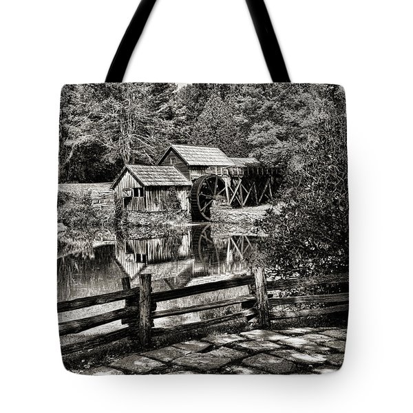 Tote Bag featuring the photograph Pathway To Marby Mill In Black And White by Paul Ward