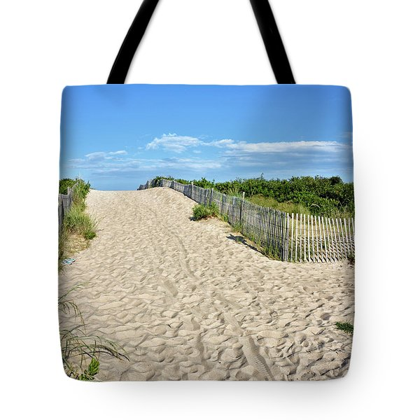 Tote Bag featuring the photograph Pathway To The Beach - Delaware by Brendan Reals