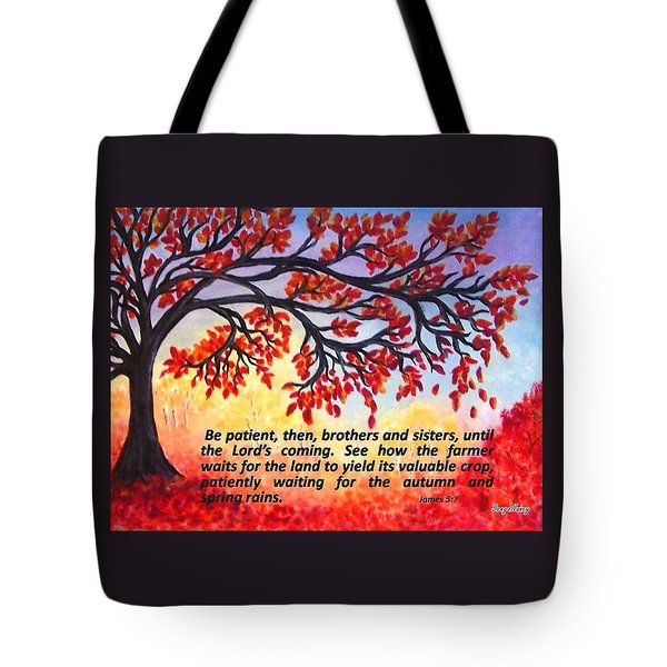 Tote Bag featuring the painting Patient Autumn Tree by Sonya Nancy Capling-Bacle