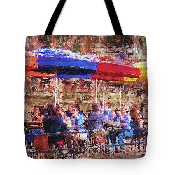 Patio At The Riverwalk Tote Bag